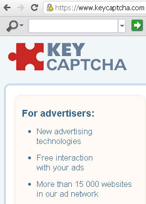 Fig.1 Screenshot of www.keycaptcha.com main webpage